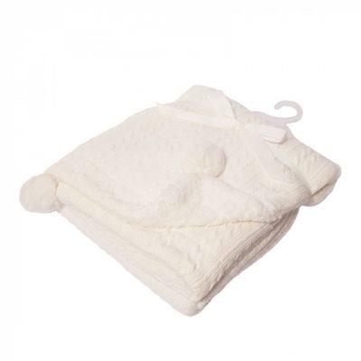 soft touch kabeldeken pompom 75 x 90 cm wit 373422 1585298925