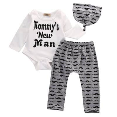 1 Leuke 3 STKS Set Pasgeboren Jongen Kleren Mooie Mama Nieuwe Man Snor Print Bodysuit Tops Lange