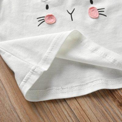 3 3Pcs Pasgeboren Baby Meisje Kleding Set Cartoon Konijn Patroon Lange Mouw T shirt Casual Broek Hoofdband 3