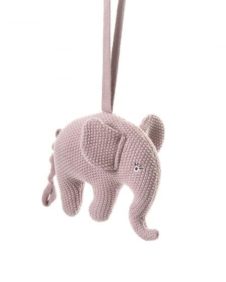 smallstuff muziekmobiel gebreid olifant 16 cm roze 346056 1576932059