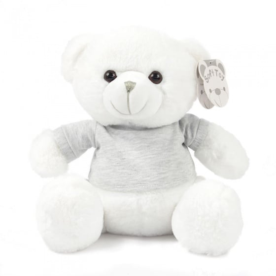 soft touch knuffelbeer met shirt 25 cm wit 338674 1574767635