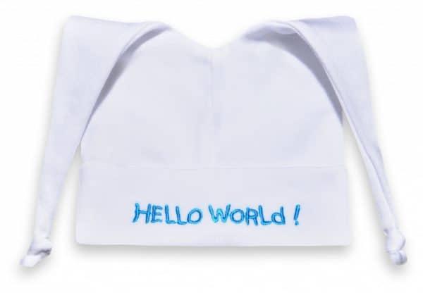 funnies babymutsje hallo world katoen wit blauw 449816 1597835199