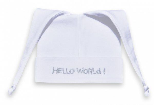 funnies babymutsje hallo world katoen wit zilver 449814 1597833018