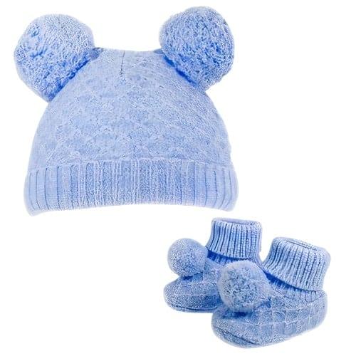 soft touch babymuts en sokjes pompom jongens polyester blauw 470586 1601707250