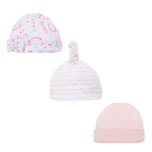 soft touch babymutsjes katoen meisjes wit roze 3 stuks 470718 1601712518