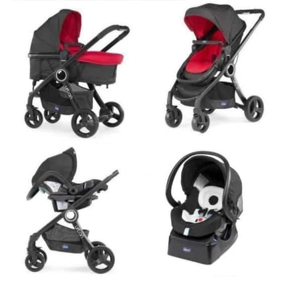chicco kinderwagen 3 in 1 urban plus aluminium rood zwart 442797 1596275084
