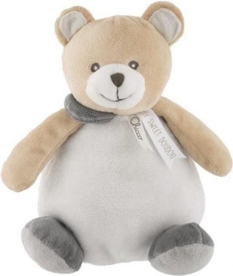 chicco knuffelbeer en bal junior 20 cm pluche beige wit grijs 429322 1594102689