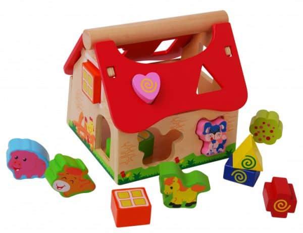 gerardos toys boerderijhuis motoriekspel hout rood bruin 416787 1592035875