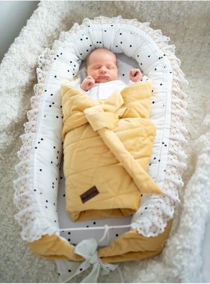 kinderhop babynest triangles fluweel katoen geel wit 5 464021 1600706176