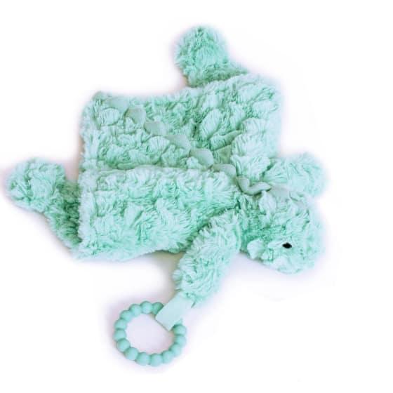 manhattan toy knuffeldeken chomp junior 12 cm pluche turquoise 3 425371 1593417202