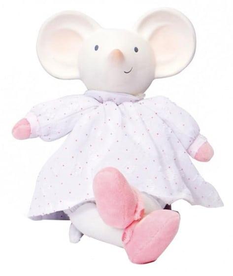 mertex meiya de muis knijp en bijtknuffeltje 19 cm wit roze 204537