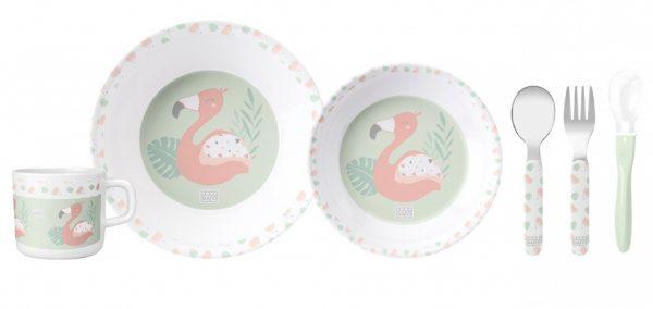 saro eetset flamingo party melamine 6 delig zalmroze groen wit 348932 1578061642