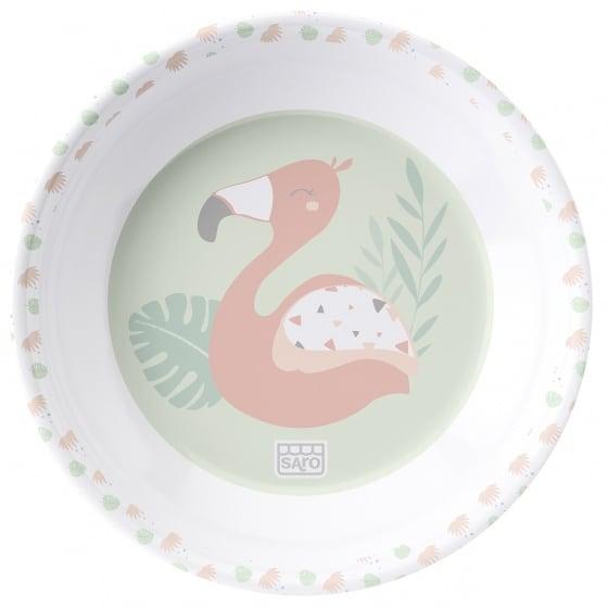saro eetset flamingo party melamine 6 delig zalmroze groen wit 3 348932 1578061643