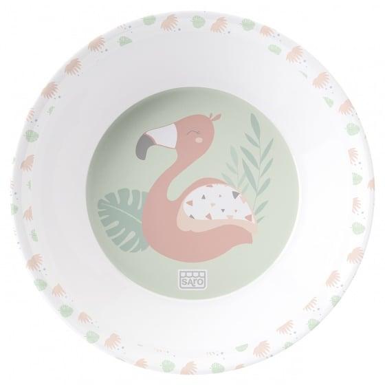 saro eetset flamingo party melamine 6 delig zalmroze groen wit 4 348932 1578061644