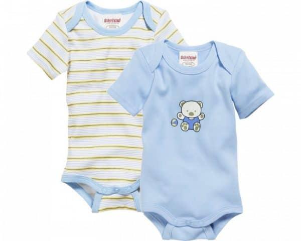 schnizler romper beren korte mouw blauw geel 2 stuks mt 50 56 361045 1581074108