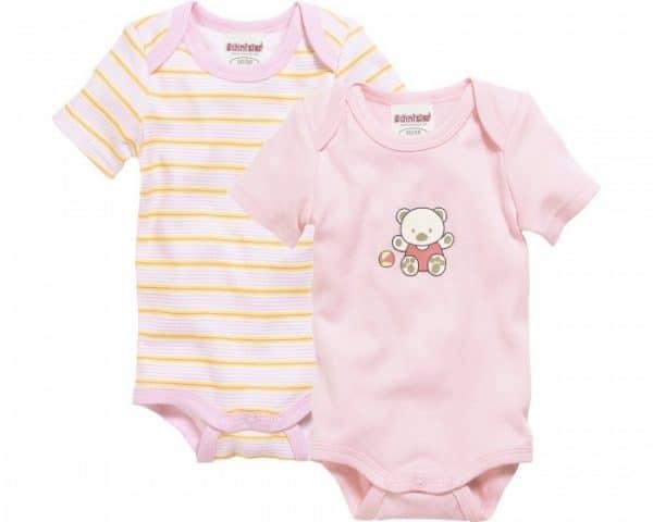 schnizler romper beren korte mouw roze geel 2 stuks mt 50 56 361022 1581073206 2