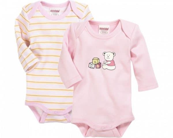 schnizler romper beren lange mouw roze geel 2 stuks mt 50 56 361761 1581329223