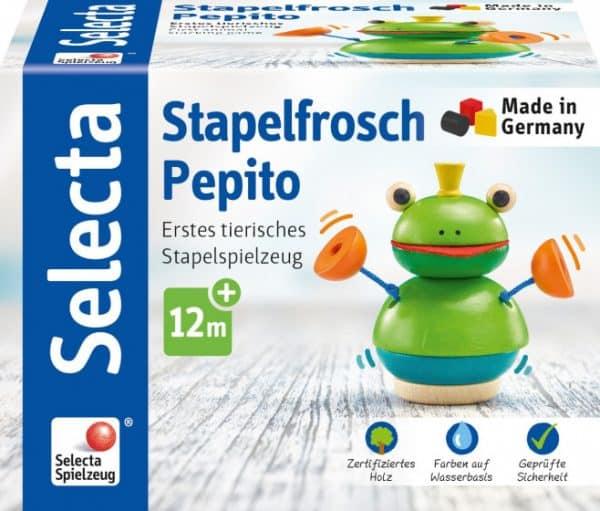 selecta stapelfiguur kikker pepito junior 10 cm hout groen 3 432282 1594622451