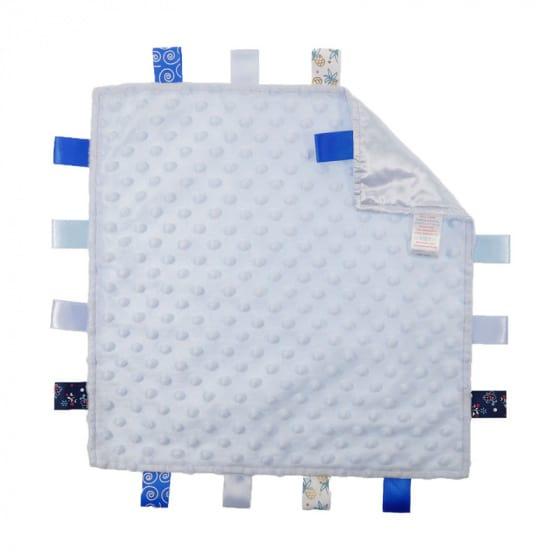 soft touch knuffeldoekje met labels blauw 35 cm 372809 1585137885