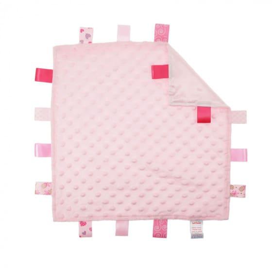 soft touch knuffeldoekje met labels roze 35 cm 372810 1585138037