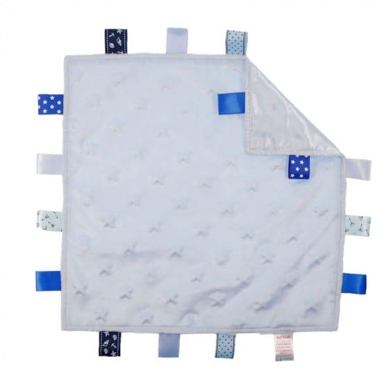 soft touch knuffeldoekje sterren met labels blauw 35 cm 372949 1585149076