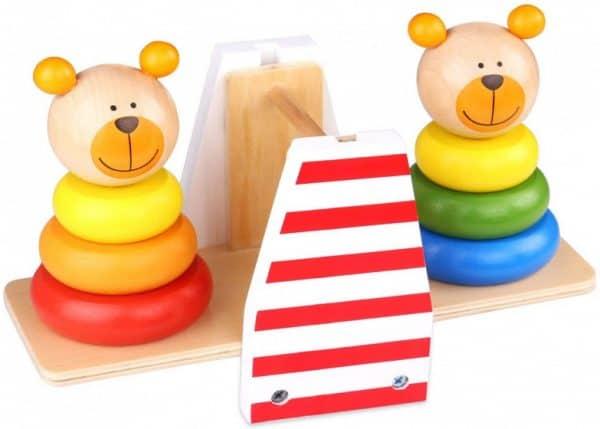 tooky toy stapeltoren weegschaal twee beren junior 25 cm hout 427720 1593690463