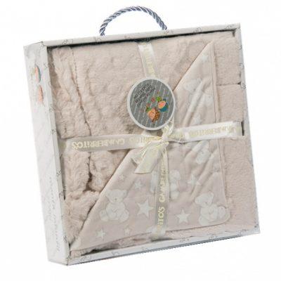 gamberritos babydeken beer 80 x 110 cm fleece beige wit 361661 1581322375