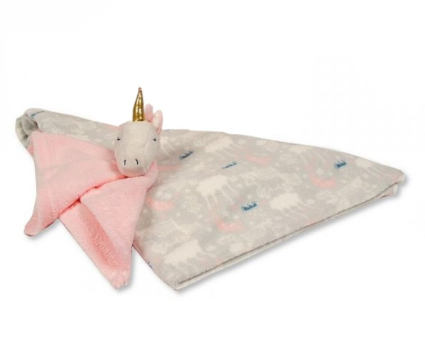 snuggle baby babydeken met unicorn knuffeldoekje grijs roze set 2 delig 348459 1577971138