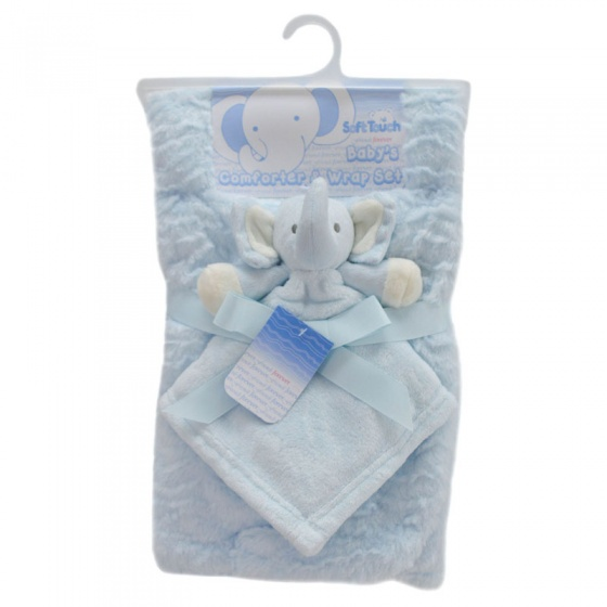 soft touch babydeken met olifantenknuffeldoekje 71 x 81 cm blauw set 2 delig 348485 1577973958