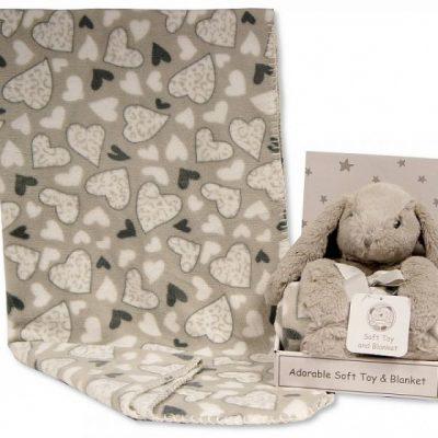 nursery time fleecedeken met knuffelkonijn 75x90 cm polyester grijs 498517 1605529057