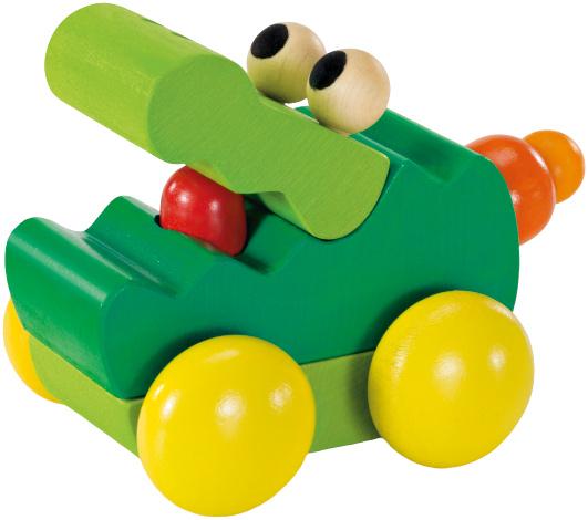 selecta speelgoedauto zoolini krokodil junior 8 cm hout groen 433455 1594727005