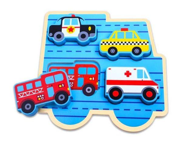 tooky toy vormenpuzzel voertuigen junior 20 cm hout 4 stuks 428412 1593784223