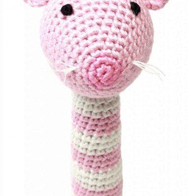naturezoo rammelaar muis gehaakt 14 cm roze 332971 1573205865