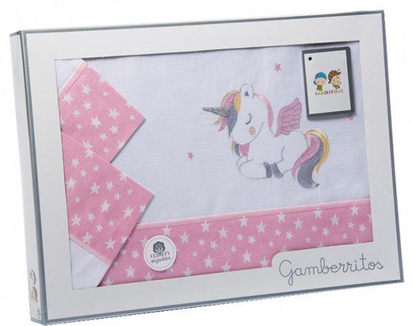 gamberritos beddenset eenhoorn 120 x 180 cm katoen roze 3 delig 539796 1612512702