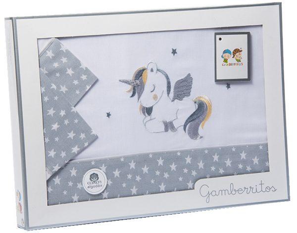 gamberritos beddenset eenhoorn 80 x 120 cm katoen grijs 3 delig 539814 1612513203