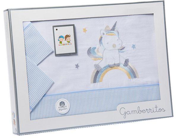 gamberritos beddenset gebreid 80 x 120 cm blauw katoen 3 delig 555513 1614259414