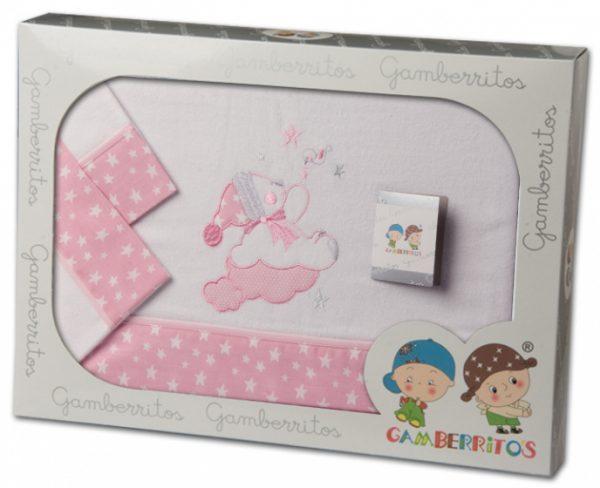 gamberritos beddenset junior katoen 80 x 120 cm roze 3 delig 556681 1614607883