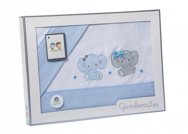 gamberritos beddenset olifant 80 x 120 cm blauw katoen 3 delig 555535 1614260600
