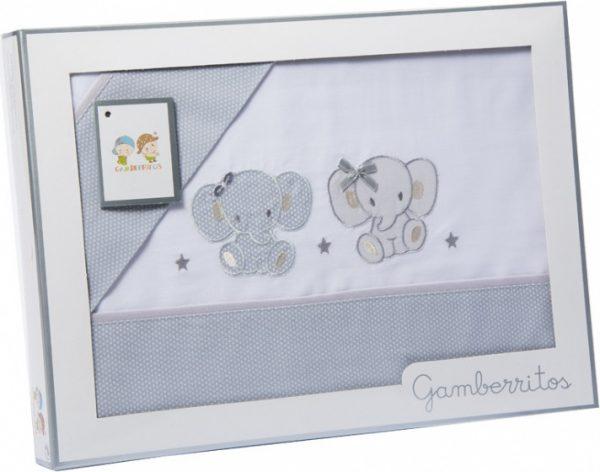 gamberritos beddenset olifant 80 x 120 cm katoen grijs 3 delig 551303 1613464444