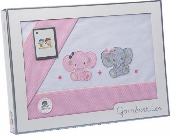 gamberritos beddenset olifant 80 x 120 cm katoen roze 3 delig 551300 1613464244