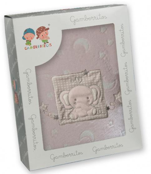 gamberritos beddenset olifant 80 x 120 cm roze polyester 3 delig 556677 1614607007