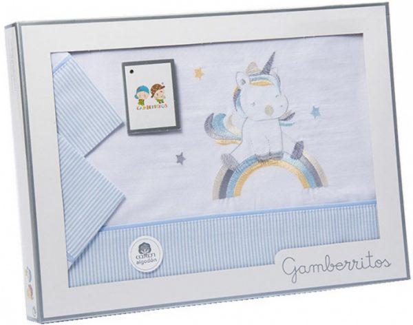 gamberritos beddenset unicorn 80 x 120 cm katoen blauw 3 delig 551285 1613463641