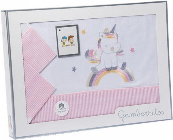 gamberritos beddenset unicorn 80 x 120 cm katoen roze 3 delig 551294 1613463965