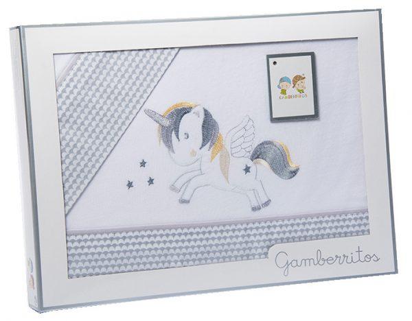 gamberritos beddenset unicorn katoen 80 x 120 cm grijs 3 delig 555503 1614258818