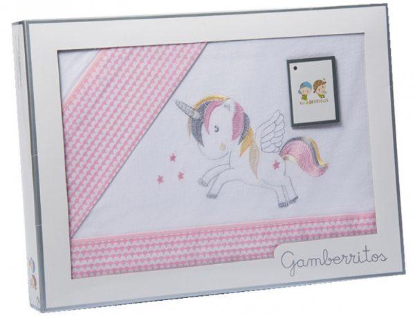 gamberritos beddenset unicorn katoen 80 x 120 cm roze 3 delig 555507 1614258945