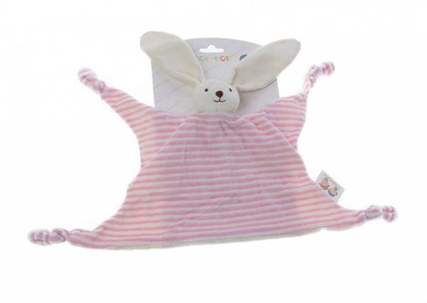 gamberritos knuffeldoekje konijn 23 cm gestreept roze 354627 1579591841