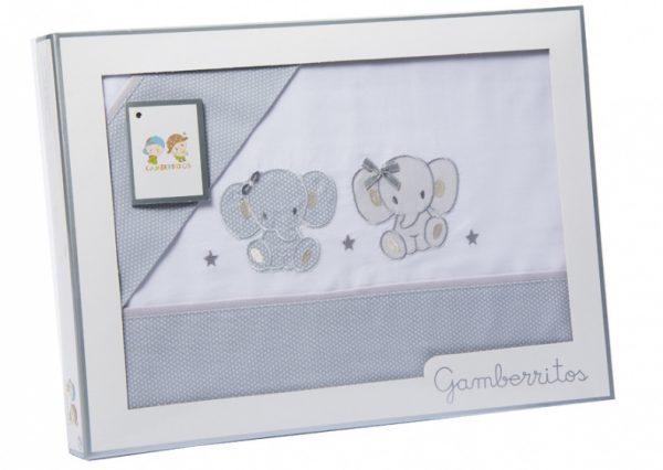 gamberritos lakenset maxi olifant katoen grijs 3 delig 555530 1614260214