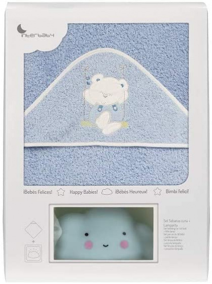 interbaby badcape en nachtlamp 100 cm katoen lichtblauw 2 delig 533853 1611664868