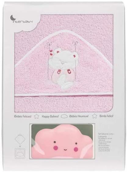 interbaby badcape en nachtlamp 100 cm katoen roze 2 delig 533855 1611665103