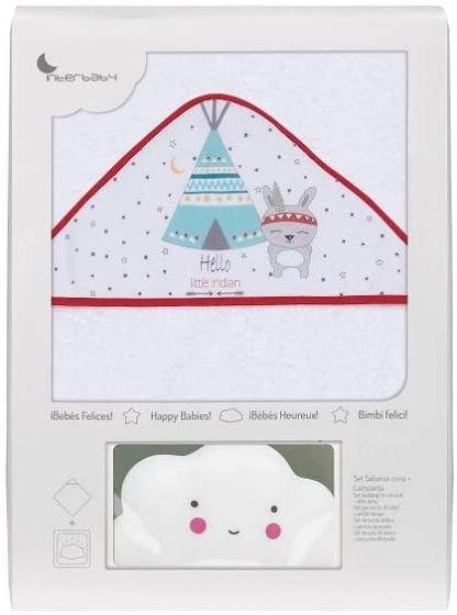 interbaby badcape en nachtlamp 100 cm katoen wit rood 2 delig 533846 1611664525